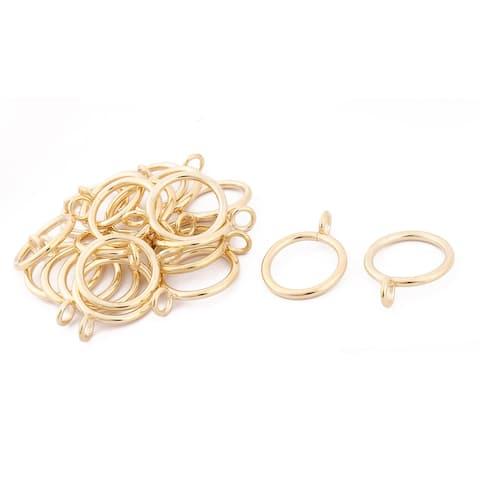 "Metal Family Window Curtain Drapery Rod Hanging Hook Clip Ring 20pcs - Gold Tone - 1.1"" Dia"