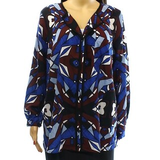 ELOQUII NEW Blue Red Women's Size 14 Abstract Print Pocket Blouse