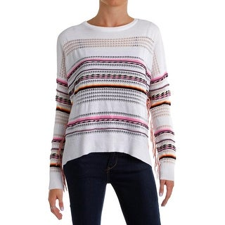 Aqua Womens Holly Pullover Sweater Fringe Neon - m