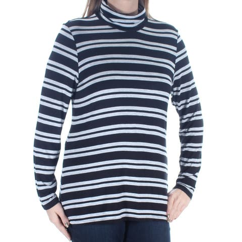 BASS Womens Black Striped Long Sleeve Turtle Neck Top Size: L
