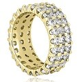 4.85 cttw. 14K Yellow Gold Round Diamond Three Row Eternity Ring - Thumbnail 1