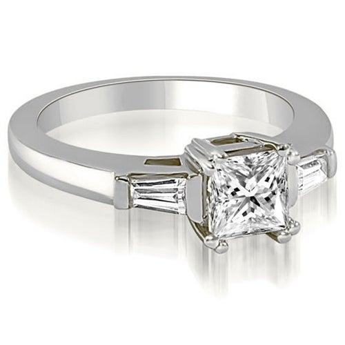 1.15 cttw. 14K White Gold Princess Baguette Three Stone Diamond Engagement Ring