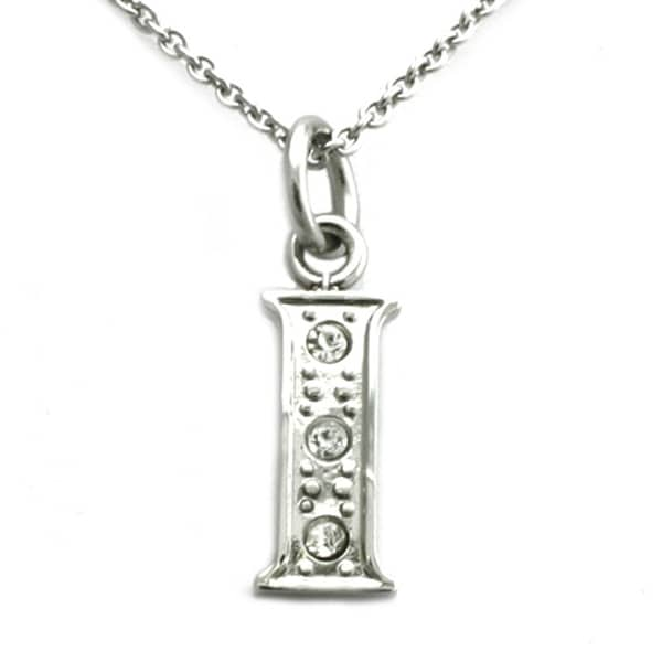 Stainless Steel Alphabet Initial Pendant w/ CZ Stones - Letter I - 18 inches