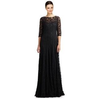 Teri Jon Lace Pintuck 3/4 Sleeve Evening Gown Dress Black