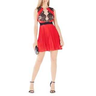 BCBG Max Azria Womens Arianne Cocktail Dress Lace Overlay Illusion