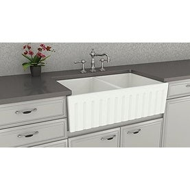 "Double Bowl Farm, Farmhouse Apron Front Fireclay Kitchen Sink, 33"", White, Fluted"