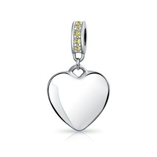 Bling Jewelry Imitation Citrine Crystal Heart Shaped Dangle Bead Charm .925 Sterling Silver