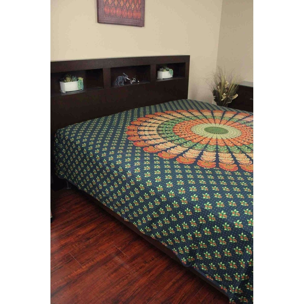 Handmade Sanganer Mandala Peacock 100% Cotton Tapestry Tablecloth Bedspread in Red Blue & Green colors in Twin & Full sizes - Thumbnail 1