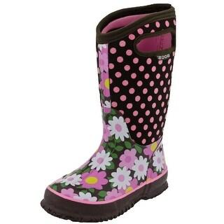 """Bogs Boots Kids Girl 10"""" Flower Dots Rubber Waterproof 71436"""