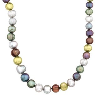 Multi-Color Graduating Ringed Freshwater Pearl Strand Necklace in Sterling Silver - Blue