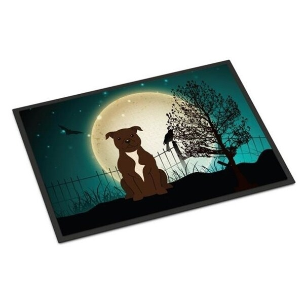 Carolines Treasures BB2238MAT Halloween Scary Staffordshire Bull Terrier Chocolate Indoor or Outdoor Mat 18 x 0.25 x 27 in.
