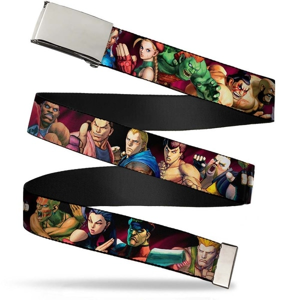Blank Chrome Buckle Street Fighter Character Stance Poses Webbing Web Belt