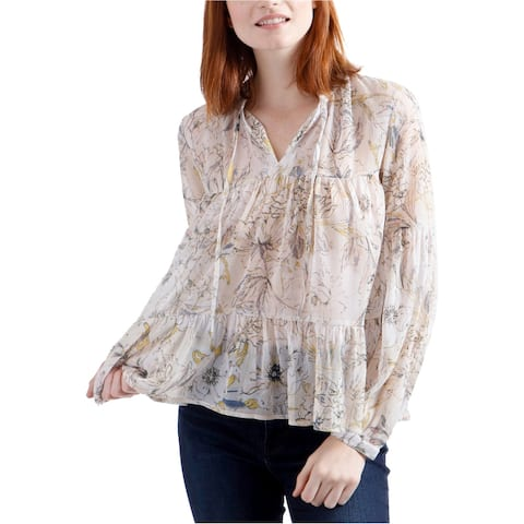 Lucky Brand Womens Pullover Peasant Blouse, Multicoloured, X-Large