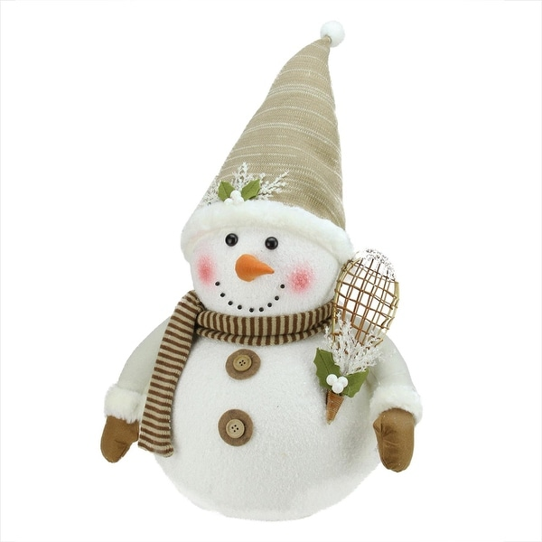 """20"""" Snowman with Snow Shoes and Mistletoe Christmas Decoration"""