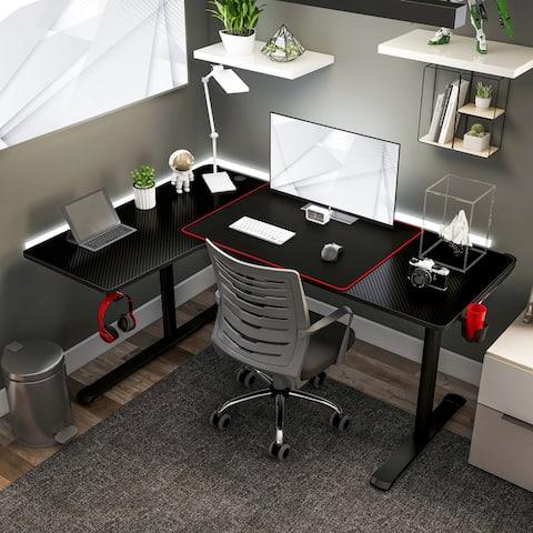 Furniture of America Devan Black 65-inch Gaming Desk with USBs