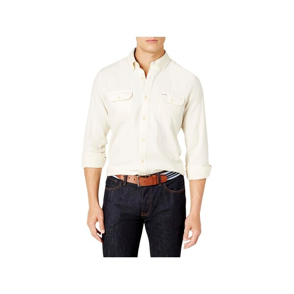 8ca9b891 Shop Tommy Hilfiger Mens Button-Down Shirt Custom Fit Formal - Free ...