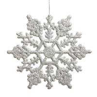 Club Shimmering Silver Glitter Snowflake Christmas Ornaments
