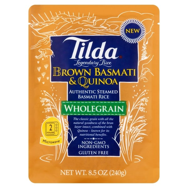 Tilda Whole Grain - Brown Basmati and Quinoa - Case of 6 - 8.5 oz.