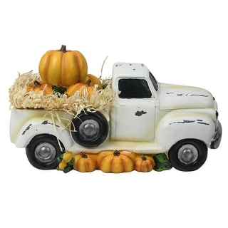 """11.25"""" Truck Full of Pumpkins and Hay Thanksgiving Table Top Figure - N/A"""