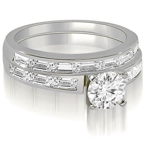 1.95 cttw. 14K White Gold Elegant Round And Baguette Cut Diamond Bridal Set