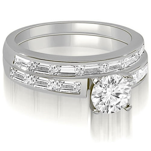 2.45 cttw. 14K White Gold Elegant Round And Baguette Cut Diamond Bridal Set