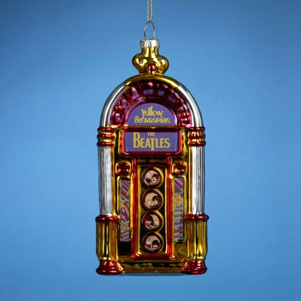"""Pack of 6 The Beatles Yellow Submarine Glass Jukebox Christmas Ornaments 5"""" - GOLD"""