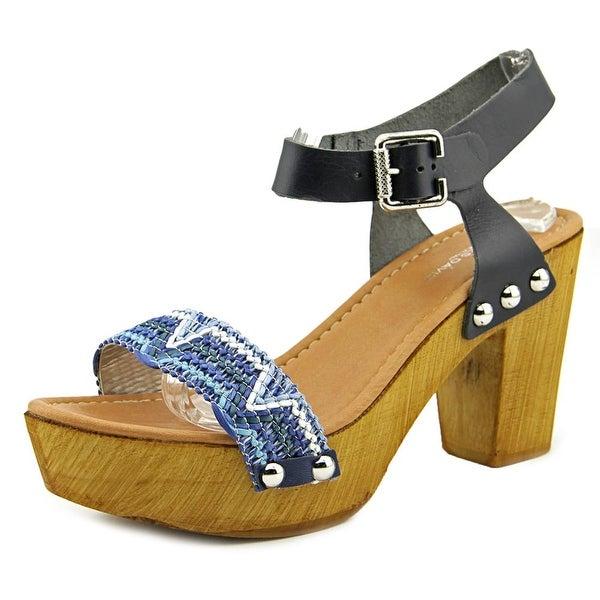 Charles David Cola Women Open Toe Leather Platform Sandal