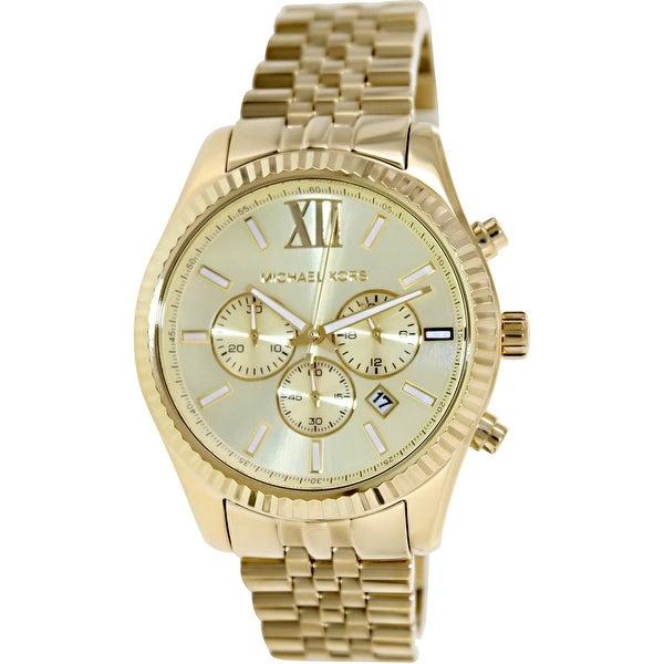 b241977ef406 Shop Michael Kors Men s Lexington Gold Stainless-Steel Fashion Watch ...