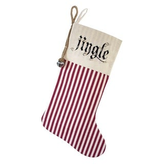 """Set of 6 Red and Beige Striped """"Jingle"""" Printed Christmas Decorative Stockings 19.75"""""""