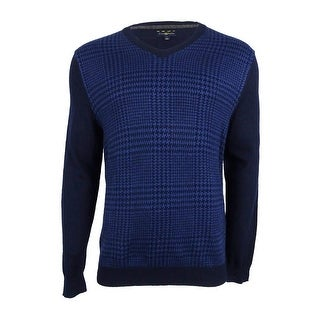 Club Room Men's Merino Wool Houndstooth V-Neck Sweater