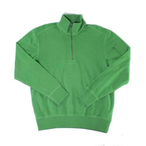 Woolrich Mens Sweaters Green Size Medium M 1/2 Zip Mock Neck Pullover