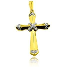 Gold Cross With Diamonds Mens 10K Yellow Gold 0.25ctw Round Diamonds 46mm Tall
