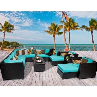 Miseno MPF-BRBD13A Caribbean 13-Piece Aluminum Framed Outdoor Conversation Set w