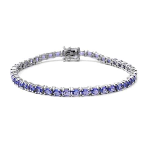 Sterling Silver Blue Tanzanite Tennis Bracelet Size 7.25 Inch Ct 7.2 - Bracelet 7.25''