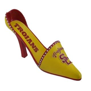 NCAA USC Trojans High Heel Shoe Wine Bottle Holder - Yellow