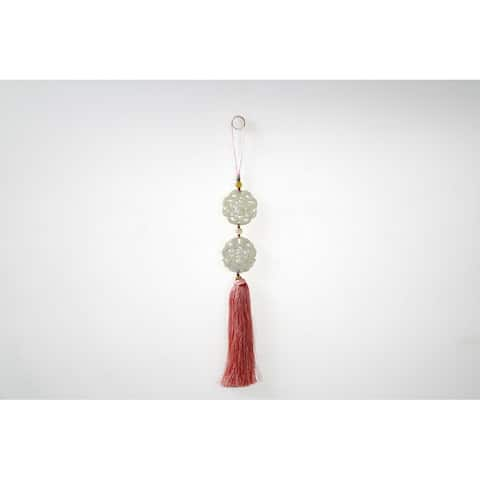 Hanging Decorative Jade Tassel-Rose Pink, 20 Inch Tall