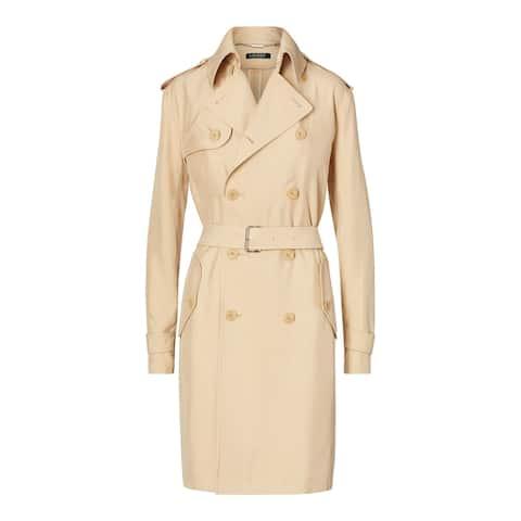 RALPH LAUREN Womens Beige Belted Trench Coat Size XL