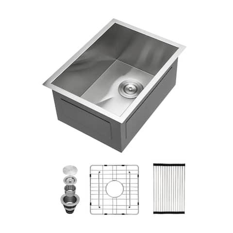 Kichae Stainless Steel Single Bowl Undermount Kitchen Bar Sink
