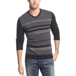 Alfani Red Slim-Fit Multi-Striped Cotton Blend V-Neck Sweater Deep Black