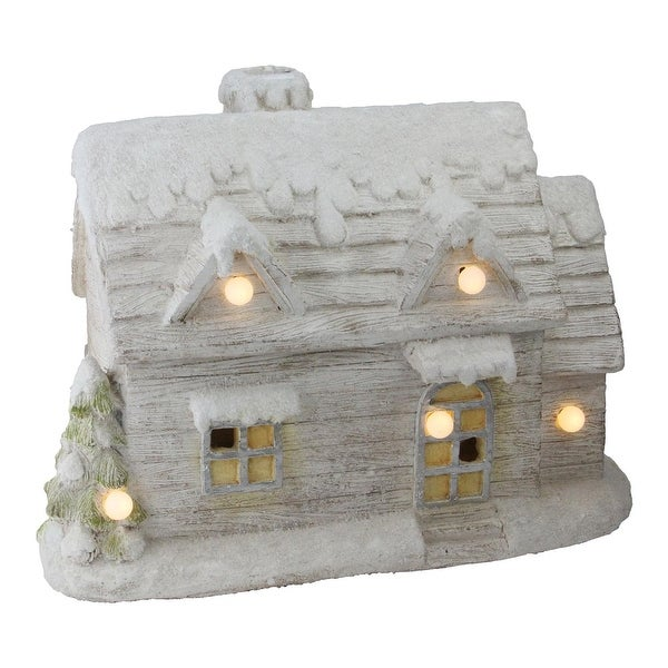 "14.5"" LED Lighted Musical Snowy Cottage Christmas Decoration"