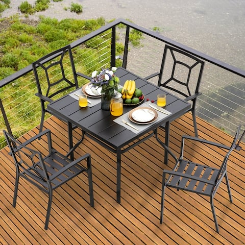 NUU GARDEN Outdoor Black Steel 5-piece Dining Set
