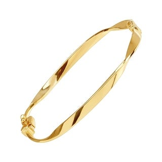 "Just Gold Twisted Hinge Bangle Bracelet in 14K Gold, 7"" - Yellow"