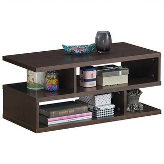 Gymax Rectangular Coffee Table Accent Cocktail Table w/ Open Shelves