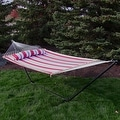 Sunnydaze 2-Person Quilted Hammock with Spreader Bars and Detachable Pillow - Hammock Stand Included - Thumbnail 10