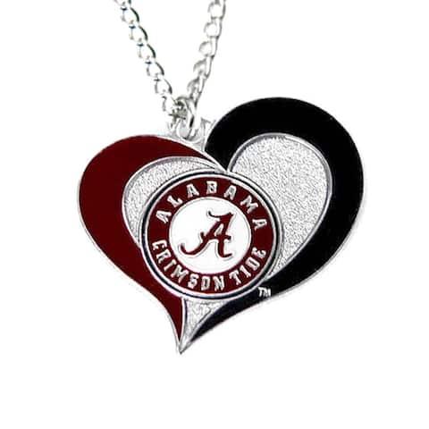 NCAA Alabama Sports Team Logo Swirl Heart Necklace