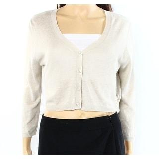 Max Mara NEW Beige Womens Size Medium M Cropped Silk Linen Cardigan