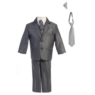 Baby Boys Pewter Two-button Metallic Special Occasion Suit 6-24M