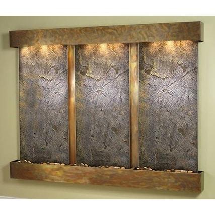 Adagio Deep Creek Falls Wall Fountain Green FeatherStone Slate Rustic Copper - D