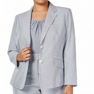 Link to Anne Klein Women's Jacket Gray Size 20W Plus Striped Seersucker Similar Items in Women's Outerwear