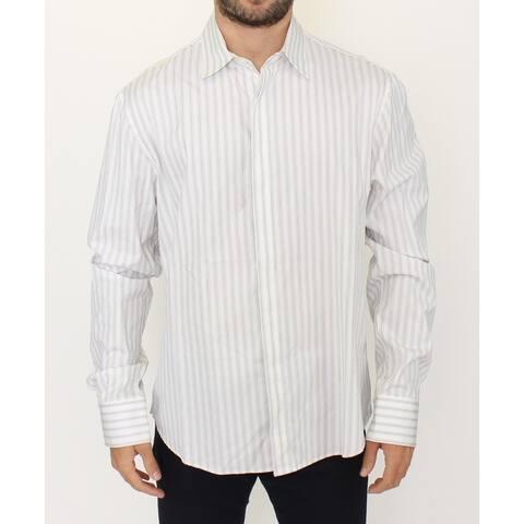 Ermanno Scervino White Black Striped Regular Fit Casual Men's Shirt - it54-xl